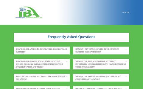 Screenshot of FAQ Page ibatx.com - FAQ - INTERNATIONAL BROKERAGE AGENCIES, INC. - captured Oct. 15, 2017
