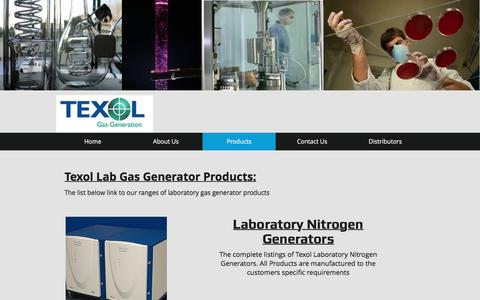 Screenshot of Products Page texolgasgeneration.com - Texol Laboratory Gas Generators Products - captured Nov. 21, 2016