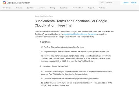 Screenshot of Trial Page google.com - Supplemental Terms and Conditions For Google Cloud Platform Free Trial | Google Cloud Platform Terms       | Google Cloud Platform - captured Jan. 5, 2017