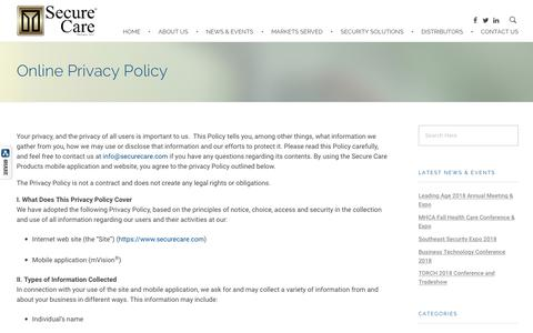 Screenshot of Privacy Page securecare.com - Online Privacy Policy – Secure Care Products - captured Oct. 18, 2018