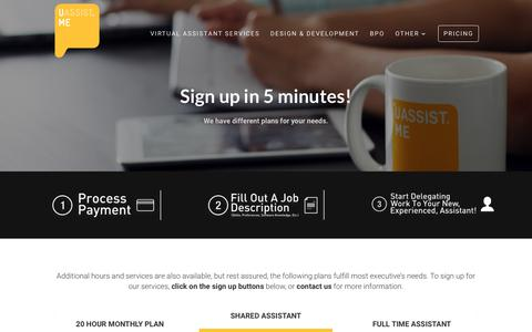 Screenshot of Pricing Page uassistme.co - Get Started | Uassist.ME - captured Nov. 22, 2018