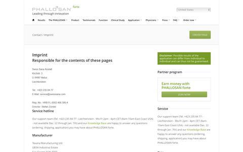 Screenshot of Contact Page phallosan.com - Contact / Imprint - PHALLOSAN forte - captured Oct. 16, 2018