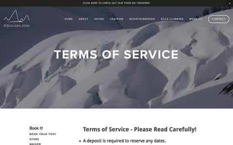 Screenshot of Terms Page alpinism.com - Terms of Service — ALPINISM.COM - captured Nov. 20, 2016