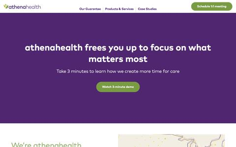 Screenshot of Landing Page athenahealth.com - athenahealth - captured Sept. 23, 2017