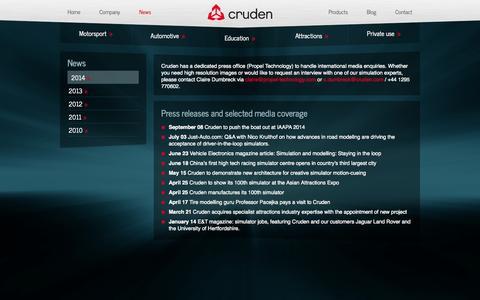 Screenshot of Press Page cruden.com - Professional vehicle development and F1 motorsport simulator engineering by Cruden BV - Cruden - captured Oct. 3, 2014