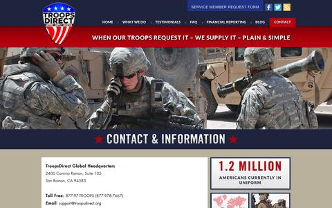 Screenshot of Contact Page troopsdirect.org - Contact & Information �  TroopsDirect.org - captured Dec. 5, 2015