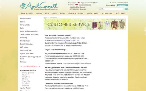 Screenshot of Support Page aprilcornell.com - Customer Service | April Cornell: April Cornell Home, April Cornell Clothing - captured Sept. 30, 2014