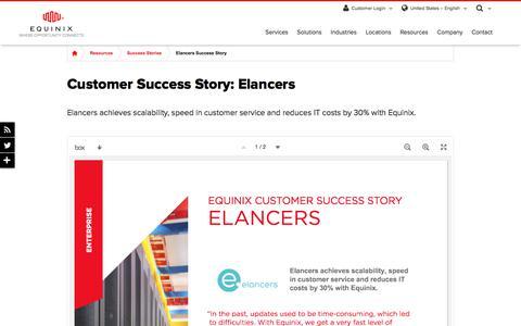 Screenshot of Case Studies Page equinix.com - Elancers Customer Success Story | Equinix - captured Dec. 29, 2017