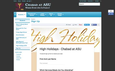 Screenshot of Signup Page jewishasu.com - Sign Up - Chabad at ASU - captured Nov. 3, 2016