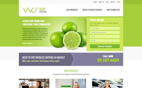 Screenshot of Home Page workingcapital.co.nz - Factoring | Debtor Finance | Working Capital | New Zealand - captured Oct. 7, 2014