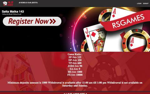 Screenshot of Home Page rsgames.net - RSGAMES | ONLINE MATKA PLAY | MATKA PLAY ONLINE | PLAY SATTA ONLINE - captured Sept. 21, 2018