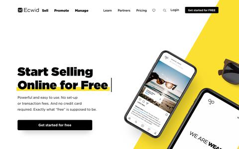 Screenshot of ecwid.com - #1 Free E-commerce Shopping Cart & Online Store Solution - Try Ecwid! - captured May 24, 2019