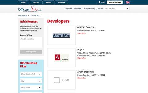 Screenshot of Developers Page officerentinfo.co.uk - Office building developers - captured Nov. 12, 2017