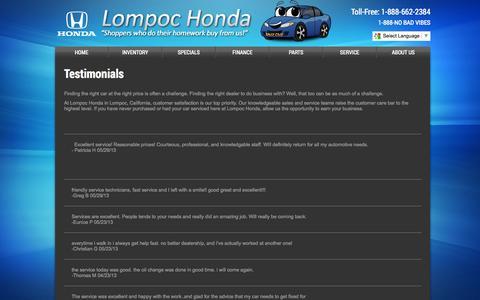 Screenshot of Testimonials Page lompochonda.com - Testimonials - captured Sept. 30, 2014