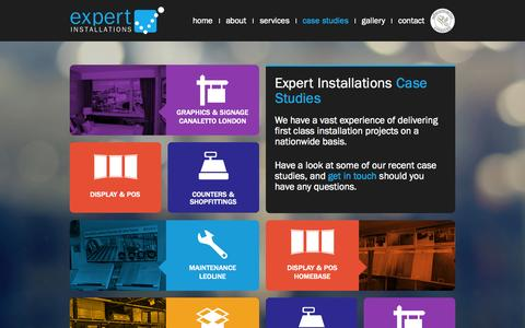 Screenshot of Case Studies Page expertinstallations.co.uk - Expert Installations / Case Studies - captured Sept. 30, 2014