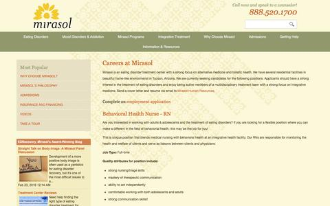 Screenshot of Jobs Page mirasol.net - Job Openings and Career Opportunities for Health Professionals at Mirasol in Tucson, Arizona - captured Feb. 23, 2016