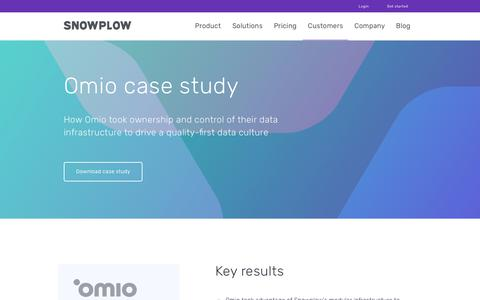 Screenshot of Case Studies Page snowplowanalytics.com - Snowplow | Omio Case Study - captured Feb. 10, 2020
