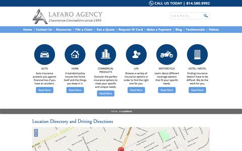 Screenshot of Locations Page manlafins.com - Lafaro Insurance Agency Locations and Driving Directions - captured Oct. 2, 2018