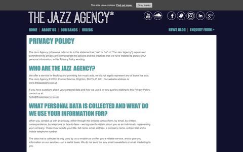 Screenshot of Privacy Page thejazzagency.co.uk - Privacy Policy - The Jazz Agency The Jazz Agency - captured Nov. 7, 2018