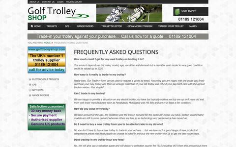 Screenshot of FAQ Page golftrolleyshop.com - frequently-asked-questions | Guides - captured Sept. 26, 2018