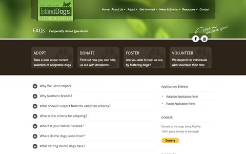 Screenshot of FAQ Page islanddogsrescue.com - FAQs - Vancouver Island Dogs Rescue Society - captured Oct. 18, 2018