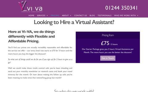 Screenshot of Pricing Page vi-va.co.uk - Hire a Virtual Assistant | Flexibile and Affordable Pricing  | Vi -VA - captured Nov. 15, 2017