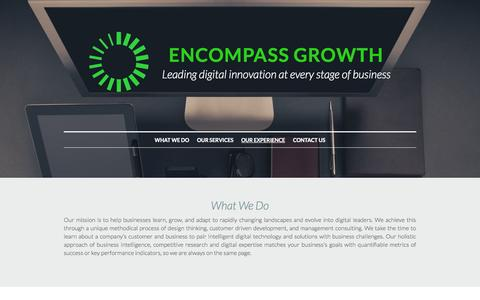 Screenshot of Home Page encompassgrowth.com - Encompass Growth - Leaders in Digital Innovation - captured Sept. 30, 2014