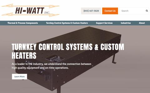 Screenshot of Home Page hiwattinc.com - Home - Hi-Watt Industrial Process Heaters - captured July 19, 2018