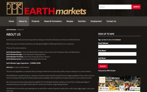 Screenshot of About Page earthmarkets.com.au - About Us - Buy Fresh Fruit & Vegetable, Local Supplier Cararra, Robina, Burleigh, Elanora | Earth Markets | Gold Coast, Australia - captured July 18, 2015