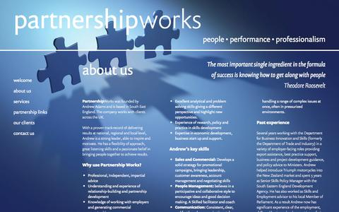 Screenshot of About Page partnershipworks.co.uk - About Us   Partnership Works - captured Oct. 1, 2014