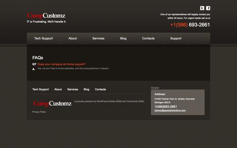 Screenshot of FAQ Page speedyitsolutions.com - FAQ about Computer RepairCompCustomz Tech Support In Michigan - captured Oct. 2, 2014