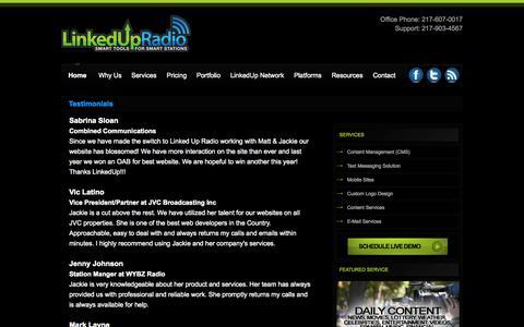 Screenshot of Testimonials Page linkedupradio.com - Testimonials - LinkedUpRadio - captured Sept. 30, 2014