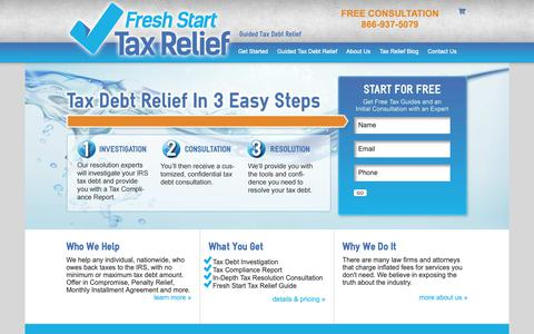 Screenshot of Home Page freshstarttaxrelief.com - Fresh Start Tax Relief Tax Debt Resolution Experts | Fresh Start Tax Relief - captured Oct. 11, 2018