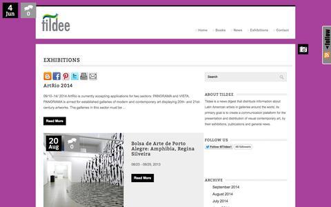 Screenshot of Press Page tildee.info - Exhibitions : tildee - captured Sept. 30, 2014