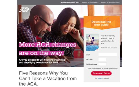 Screenshot of Landing Page adp.com - Affordable Care Act Changes for 2016 - captured July 1, 2016