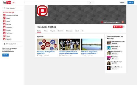 Screenshot of YouTube Page youtube.com - Prosource Hosting  - YouTube - captured Oct. 23, 2014