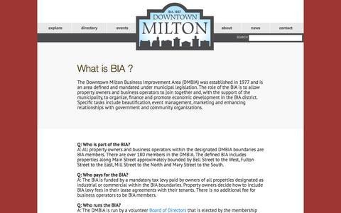 Screenshot of About Page downtownmilton.com - What is BIA ? | DMBIA - Downtown Milton BIA - captured Feb. 17, 2016