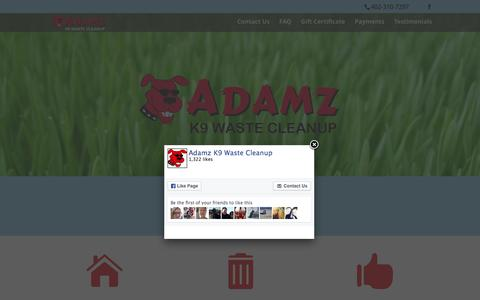 Screenshot of Home Page adamzk9.com - Adamz K9 – Dog Waste Cleanup and Removal in Lincoln, NE - captured Feb. 5, 2016
