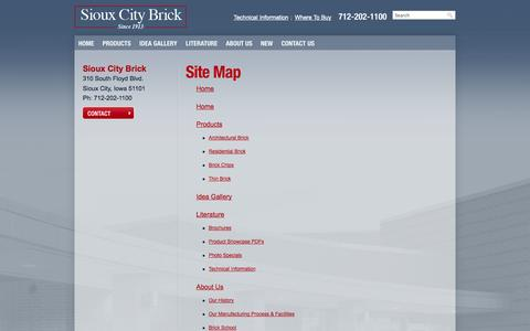 Screenshot of Site Map Page siouxcitybrick.com - Site Map | Sioux City Brick - captured Oct. 26, 2014