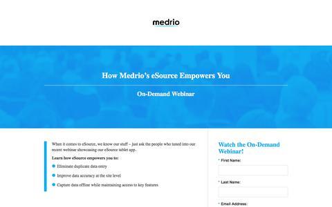 Screenshot of Landing Page medrio.com - medrio - captured Oct. 23, 2017
