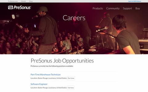 Screenshot of Jobs Page presonus.com - Careers   PreSonus - captured Sept. 4, 2016