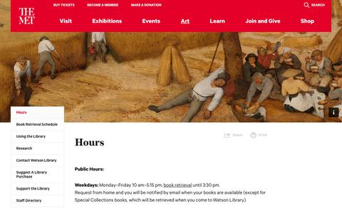 Screenshot of Hours Page metmuseum.org - Hours | The Metropolitan Museum of Art - captured April 11, 2018