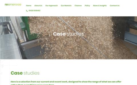 Screenshot of Case Studies Page reenergisegroup.com - Case Studies - ReEnergise - captured Oct. 21, 2018