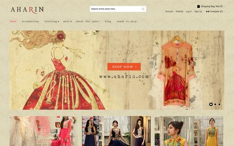 Screenshot of Home Page aharin.com - Shop Aharin India by Prasansha & Ashish pop up online - captured Oct. 4, 2014