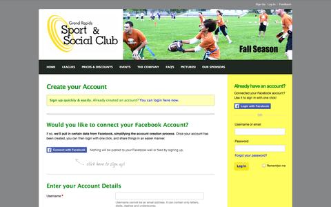 Screenshot of Signup Page grssc.com - Grand Rapids Sport & Social Club : Sign Up - captured Oct. 3, 2014