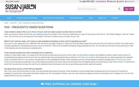 Screenshot of FAQ Page susanjablon.com - Glass Tile Mosaic, Tile Designer Tool, Floor Mosaic Tiles - Susan Jablon - captured Jan. 11, 2016