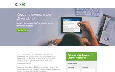 Screenshot of Landing Page qlik.com - 2015 Gartner Magic Quadrant Report | Qlik - captured Dec. 17, 2015