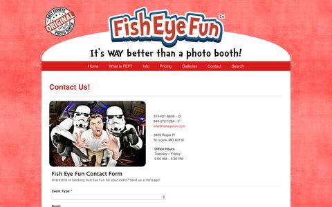Screenshot of Contact Page fisheyefun.com - Contact Us! » Fish Eye Fun – A St. Louis Photo Booth Service - captured Dec. 9, 2018