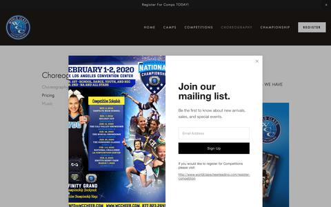 Screenshot of Pricing Page worldclasscheerleading.com - World Class Cheerleading #WCCheer - captured Oct. 4, 2019