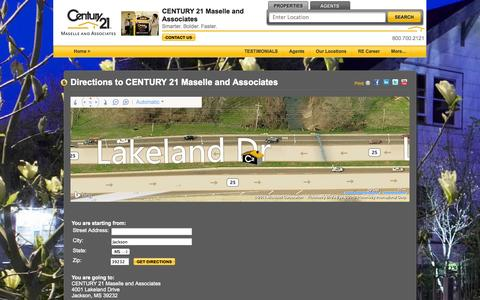 Screenshot of Maps & Directions Page frontdoorkey.com - Jackson, MS Maselle and Associates Real Estate Office | Agents | CENTURY 21 - captured Oct. 2, 2014